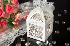 12PCs*White Laser Cut Love Birds Wedding Bomboniere Candy Boxes Wedding Favors | eBay $8.99