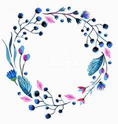 Flower Drawings Ideas Watercolor flower wreath vector floral frame - by Elmiko on VectorStock® Watercolor Flower Wreath, Watercolor Flowers, Watercolor Paintings, Drawing Flowers, Flower Drawings, Watercolor Portraits, Watercolor Landscape, Abstract Paintings, Fond Design