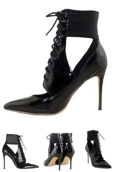 Black Cut Out Lace-up Heeled Sandal Boots