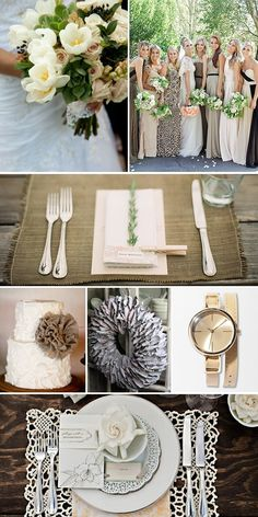 Cream & Tan Wedding Colors First Row: Style Me Pretty | People Second Row: Matt Edge Photography Third Row: Jenny Cookies | Ekster Antiques | Urban Outfitters Fourth Row: Style Unveiled