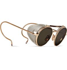 'Round frame Gold tone Sunglasses' by Thom Browne. Cool Glasses, Glasses Frames, Eye Glasses, Apple Glasses, Round Frame Sunglasses, Gold Sunglasses, Sunglasses Women, Steampunk Sunglasses, Sunglasses Sale