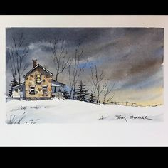 """1,141 Likes, 14 Comments - Peter Sheeler (@sheelerart) on Instagram: """"""""Moonlit Farmhouse"""" Line and Wash Watercolor. New YouTube Video.  Latest video posted on YouTube.…"""""""
