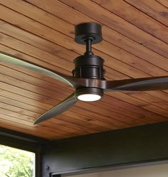"""With a sleek propeller design and slim profile, our Falcon LED Ceiling Fan finds an easy home in both small rooms and wide-open spaces. It shows off its versatility with a variety of fan body, blade, and light-kit combinations to offer a sophisticated and refreshing burst of style to any room design.  * Steel, wood blades * 9 speeds with reversible motor (DC-165M) * Remote control included; not for use with a Rheostat or dimmer switch * Blades and 4-1/2"""" downrod included * 16W LED light…"""