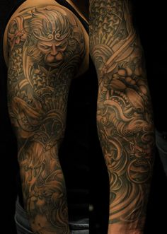 Chronic Ink Tattoo, Toronto Tattoo - Monkey king and foo dog full sleeve by BKS