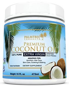 Palmtree Organic Extra Virgin Coconut Oil 16oz, Cold Pressed Premium Quality, Natural Source of Energy, Healthiest Cooking Oil for Baking/sautéing, Natures own Super Food. BEST for Hair, Skin, Babies, Pets. Lactose, Gluten, Nut, Dairy Free. PalmTree