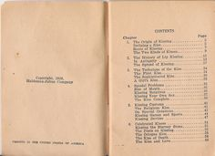 """Table of contents, """"The Art of Kissing"""" by Clement Wood"""