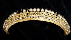Exquisite rare antique French Empire crown / diadem faux pearls