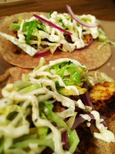 Fish Tacos with Cabbage Slaw and Remoulade