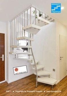 stairs from Kenngott - Kenngott stairs - Attic Ideas Space Saving Staircase, Loft Staircase, Attic Stairs, House Stairs, Basement Stairs, Attic Apartment, Attic Rooms, Attic Playroom, Attic Bathroom