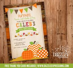 Printable Pumpkin Birthday Invitation | Kids October and Fall Birthday Party Ideas | Fall Festival | Pumpkin Patch | FREE thank you card included | Leaves | Corn Maze | Hay Ride | Modern | Rustic | Girl or Boy | DIY | Digital File | Matching Party Package Available! Banner | Cupcake Toppers | Favor Tag | Food and Drink Labels | Signs |  Candy Bar Wrapper | www.dazzleexpressions.com