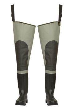 """WATERPROOF THIGH WADERS """"PREMIUM"""" Model: WRP02 The thigh waders have been produced with high quality PVC boots welded in. The model has knee-protection. Thigh waders have been made on waterproof strong fabric Plavitex Heavy Duty. It's a good protection against water. High frequency welding makes seams stronger."""