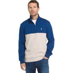 Men's IZOD Advantage Sportflex Colorblock Quarter-Zip Fleece Pullover, Size: Medium, Med Blue