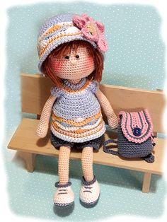 Make A Stuffed Toy Crochet amigurumi doll pattern Crochet toy pattern PDF Crochet Crochet Doll Pattern, Crochet Toys Patterns, Stuffed Toys Patterns, Crochet Girls, Cute Crochet, Head To Toe, Crochet Chain Stitch, Amigurumi Toys, Diy Doll