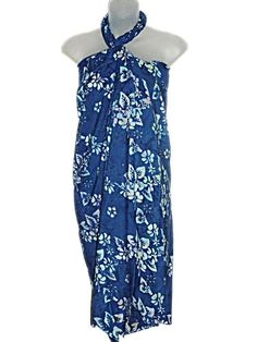 a5849f7044 HAWAIIAN BLUE WITH LIGHT BLUE FLOWERS PLUS SIZE SARONG W/ SARONG BUCKLE  (XL-2X) at Amazon Women's Clothing store: Plus Size Cruise Wear