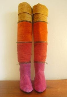 Bright Color Blocked Suede Zipper Boots by singlefilevintage, $80.00. Brand Wild Pair