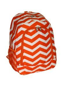 Amazon.com: Womens or Girls Orange and White Chevron Backpack, a Cute and Trendy Backpack, Perfect for Back to School! Microfiber Constructi... Chevron Backpacks, Trendy Backpacks, School Backpacks, Wholesale Purses, Orange Chevron, Cute Bags, School Fashion, Monogram Canvas, Kids House