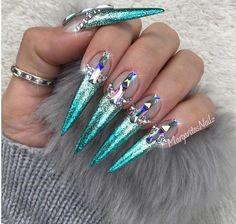 Mermaid ombré stilettos Bling nail art design by MargaritasNailz