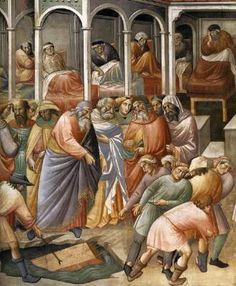 Agnolo Gaddi - La Leggenda della vera Croce: 3 Recupero del legno - affresco - 1380 -1390 - parete destra Cappella Maggiore - Basilica Santa Croce, Firenze