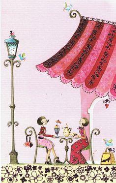 Nina Shen : Goûter entre amies - Cartes d'Art/Nina Shen - Lulu Shop.