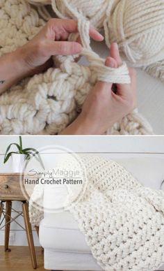 Hand Knit Blanket, Chunky Blanket, Crochet Blanket Patterns, Knitted Blankets, Crochet Throws, Crotchet Blanket, Crochet For Beginners Blanket, Scarf Patterns, Crochet Afghans