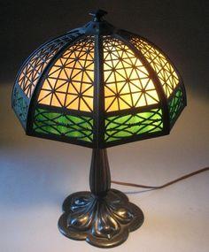 Bradley & Hubbard Mission style slag glass lamp c. 1915