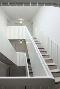 Completed in 2012 in Zoersel, Belgium. Images by Filip Dujardin . The non-profit organization Monnikenheide has become a laboratory for health care architecture in Belgium during the last decade. Amazing Architecture, Architecture Details, Interior Architecture, Scandinavian Architecture, Interior Stairs, Interior Exterior, Escalier Design, Balustrades, House Stairs