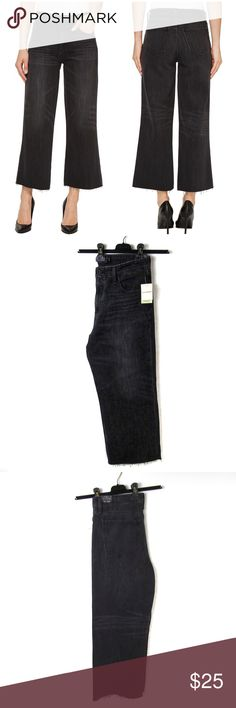 Lucky Brand Cropped Wide Leg High Rise Jeans Lucky Brand cropped in a wide leg silhouette. Vintage inspired faded black wash, classic 5-pocket styling, a zipper fly closure, whiskering effect and a raw cut hem. Approx 11.5in Rise, 19in hip, 24.5in inseam, 10.5in hem. Perfect for wide leg trend, new with tags! No trades or modeling, offers welcomed!   Size up by 1-2 sizes for this true vintage, no-stretch denim style. FIT: High-rise, slim fit with a cropped wide leg Lucky Brand Jeans Ankle…