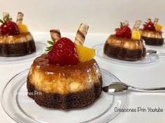 Individual Chocoflanes for business or dessert table - Modern Flan Dessert, Flan Cake, Dessert Table, Mini Desserts, Individual Desserts, Gourmet Recipes, Cake Recipes, Cooking Recipes, Mini Cakes
