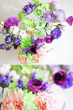 DIY crepe paper flowers for an alternative bridal bouquet.