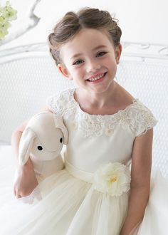 Ivory Satin Bodice with Tulle Girl Dress with Flower