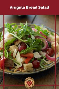 Looking for a simple and easy bread salad recipe? Try this Arugula Bread Salad featuring grapes from California, garlic, rustic bread, pine nuts, and more. Grape Recipes, Fall Recipes, Side Dish Recipes, Side Dishes, California Food, Grilled Bread, Roasted Onions, Bread Salad, Rustic Bread
