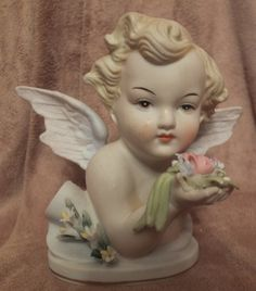 Lefton China Cherub Angel Head Bust by MoonbearConnections on Etsy