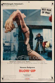 Happy Birthday #VanessaRedgrave https://eartfilm.com/search?q=vanessa+redgrave #actors #acting #Broadway #theater #theatre #Julia #HowardsEnd #BlowUp #Antonioni #movies #film #cinema #posters #movieposters  Blow-Up-1966-27x41-Antonioni-Vanessa Redgrave-David Hemmings-Veruschka