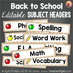 Back to School themed Subject Header Cards - Editable