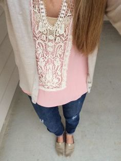 love the softness of the top paired with the distressed jeans  A Touch Of Pink Giveaway