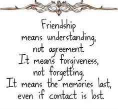 Friendship Means Understanding