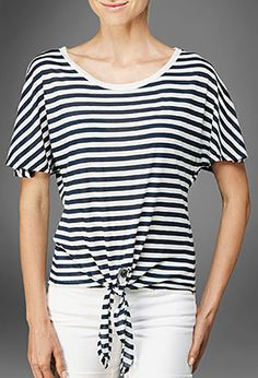 Ag Jeans Cream Navy Tied Knotted Front Tee Cream Navy T Shirt