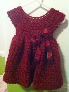 Crochet Red Dress. Perfect Christmas dress for sweet Aida one day.