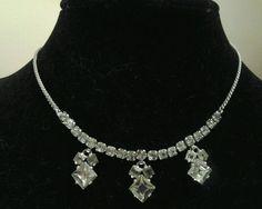 Vintage Silver Rhinestone Fancy 3 Drop Statement Collar Evening  Necklace #Collar