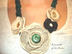 Sale Fabric Necklace  Fabric Flower Necklace by Beperceptible, $39.50