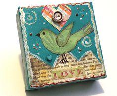 Original mixed media bird / love bird on canvas / 4x4 mixed media bird and heart. $14.95, via Etsy.