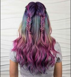 Beauty: fantasy unicorn purple violet red cherry pink yellow bright hair co Bright Hair Colors, Ombre Hair Color, Cool Hair Color, Hair Colour, Color Red, Bright Purple, Teal Hair, Lilac Hair, Colorful Hair
