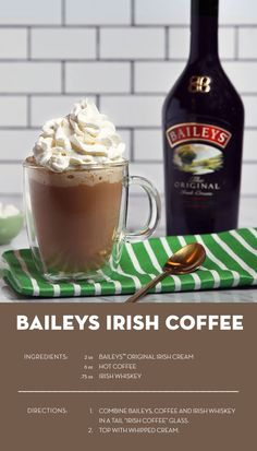 Making A Great Cup Of Coffee Is Easy - Just Read This Handy Guide If you like coffee, try the Baileys twist on the classic Irish coffee cocktail recipe. Just combine Baileys, coffee, Irish whiskey, and top it off with whipped cream. Baileys Cocktails, Coffee Cocktails, Cocktail Drinks, Fun Drinks, Yummy Drinks, Cocktail Recipes, Beverages, Alcoholic Coffee Drinks, Irish Cocktails