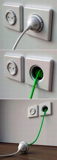 Electrical wall sockets with built-in extension cords.