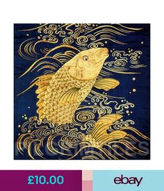 Japanese Style Carp Tile Ceramic or Porcelain Tiles Bathroom Kitchen Fireplace Japanese Textiles, Japanese Patterns, Japanese Prints, Art Koi, Fish Art, Japanese Koi, Japanese Style, Japanese China, Art Chinois
