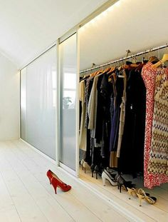 Closet space is never enough, this is why we decided to show you some ideas of what a good attic closet design could look like. Eaves Storage, Loft Storage, Bedroom Storage, Attic Bathroom, Attic Rooms, Attic Spaces, Attic Apartment, Basement Bathroom, Apartment Therapy