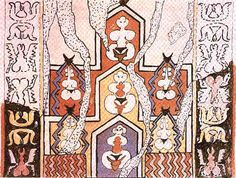 """""""Sketched reconstruction"""" of a wall-painting from Çatal Hüyük, Shrine AIII,11 north wall, upper part showing cave-like niches with goddesses and their synbols of power in mirror image. Said to be 5.5 meters in length. (The Goddess of Anatolia, Vol. 1, Plate XVII, 2.)"""