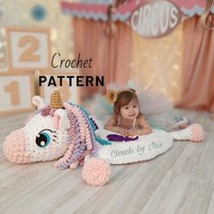 Plush baby rug Mia Unicorn, Arm Crochet Pattern, no needles and hooks, easter Crochet Mat, Crochet Toys, Crochet Crafts, Arm Crocheting, Drops Baby, Crochet Unicorn, Arm Knitting, Knitting Needles, Unicorn Gifts