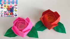 【折り紙】『トーヨー花のおりがみ』のバラを折ってみた Gato Origami, Origami And Kirigami, Origami Paper Art, Oragami, Paper Crafts, Diy Crafts, Origami Flower Bouquet, Origami Rose, Art Projects