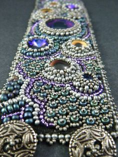 The Dragon's Garden Bead Embroidery Cuff Bracelet by Kinga Nichols